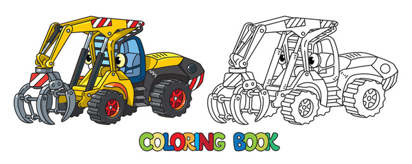 Funny log handler car with eyes coloring book
