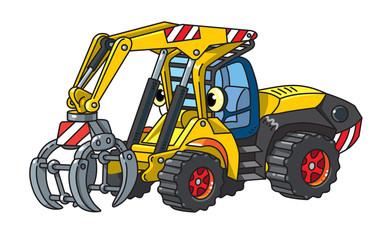 Funny log handler car or truck with eyes