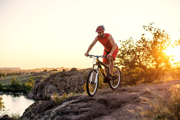 Extreme cycling, mountain biking on the rocks, free space.