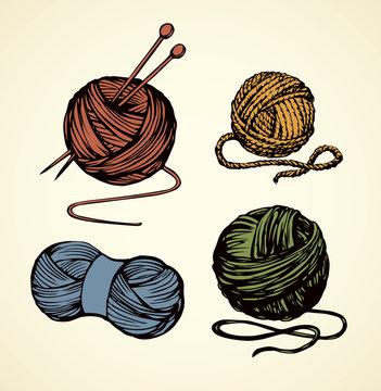 Knitting. Vector drawing