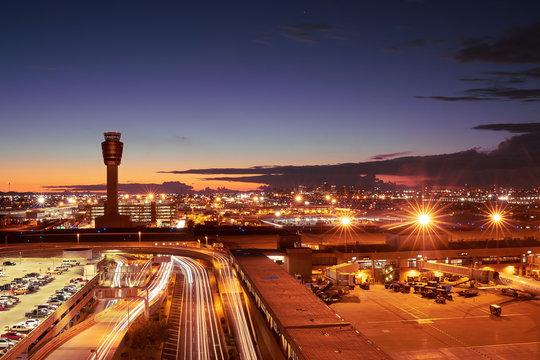 Night time view of Phoenix, Arizona skyline, long exposure