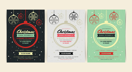 Christmas and Happy New Year Event Layout Flyer. Vector illustration.