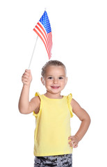 Little girl with American flag on white background