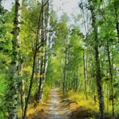 Hand drawing watercolor art on canvas. Artistic big print. Original modern painting. Acrylic dry brush background. Beautiful summer green forest landscape. Wild nature. Paradise view. Blue bright sky