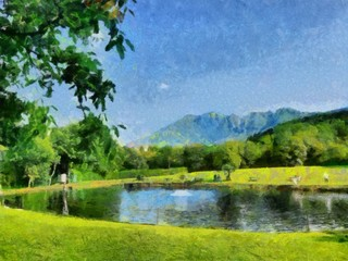 Hand drawing watercolor art on canvas. Artistic big print. Original modern painting. Acrylic dry brush background. Beautiful green  mountain landscape. Wild nature. Paradise view. Blue bright sky