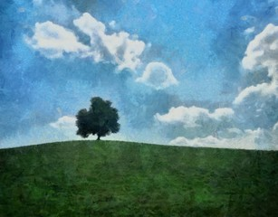 Hand drawing watercolor art on canvas. Artistic big print. Original modern painting. Acrylic dry brush background. Beautiful green hill landscape. Wild nature. Single tree. Blue bright sky clouds