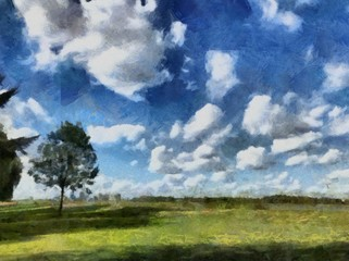 Hand drawing watercolor art on canvas. Artistic big print. Original modern painting. Acrylic dry brush background. Beautiful field summer landscape. Wild nature. Paradise view. Blue bright sky clouds