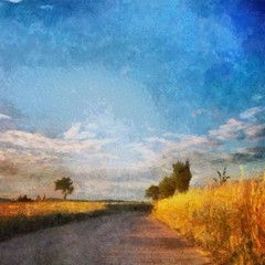 Hand drawing watercolor art on canvas. Artistic big print. Original modern painting. Acrylic dry brush background. Beautiful wheat field with road landscape. Wild nature. Blue bright sky clouds
