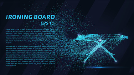 Ironing Board made of particles. An Ironing Board consists of small circles and dots. Vector illustration