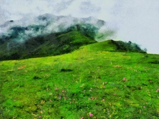 Hand drawing watercolor art on canvas. Artistic big print. Original modern painting. Acrylic dry brush background. Beautiful green  mountain landscape. Wild nature. Paradise view. Large fog.