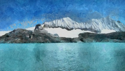 Hand drawing watercolor art on canvas. Artistic big print. Original modern painting. Acrylic dry brush background. Beautiful snow mountain landscape. Wild nature. Paradise view. Blue bright sky clouds