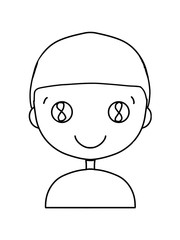 cute characters  icon  line drawing   man half body