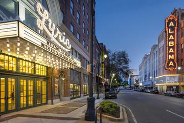 Movie theatres at dusk, Alabama, USA