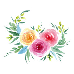 Watercolor tender peony flower. Floral botanical flower. Isolated illustration element. Aquarelle wildflower for background, texture, wrapper pattern, frame or border.