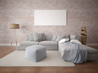Mock up fashionable living room with a large comfortable sofa and an original background.