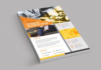 Flyer Layout with Orange Design Elements