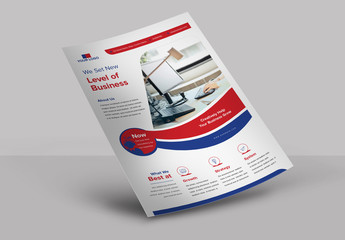 Flyer Layout with Blue and Red Banner Element