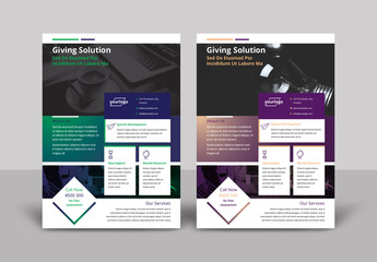 Flyer Layout with Dark Gradient Design Elements