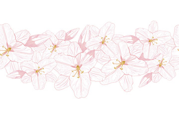 Pink line lilies on a tender mint background. Hand-drawn contour lines. Design greeting card and invitation of the wedding, birthday, Valentine's Day. Flower border background.