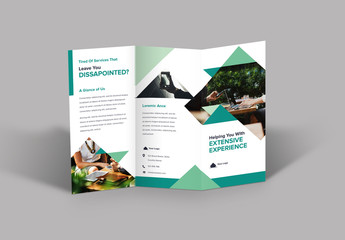 Trifold Brochure Layout with Green Triangle Designs