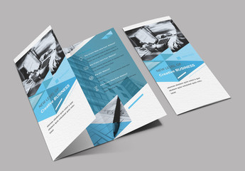 Trifold Brochure Layout with Blue Design Elements