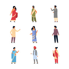 set different indian people wearing national traditional clothes hindu man woman celebration concept male female cartoon character collection full length isolated horizontal flat vector illustration