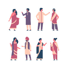set indian people group wearing national traditional clothes hindu man woman celebration concept male female cartoon character collection full length isolated horizontal flat vector illustration