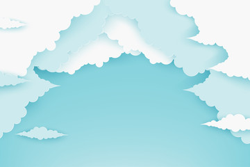 Paper fluffy clouds in blue sky. Modern 3d paper cut style background in pastel colors
