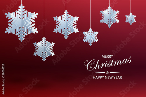 abstract christmas background with volumetric paper snowflakes