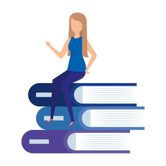pile text books with mini woman