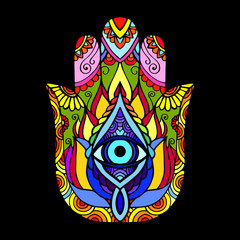 Hand drawn Hamsa symbol. Ethnic Indian, Arabic, Jewish hamsa amulet. Colorful Hamsa symbol with floral ornament.