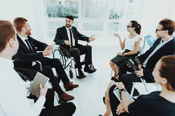 Meeting Disabled People in Bright Room with Window