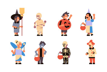 set different cute kids wear monsters costume happy halloween concept party celebration isolated horizontal collection flat vector illustration