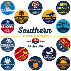 united states | southern state digital badges | vector art