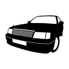 Car modern black silhouette logo. Vector