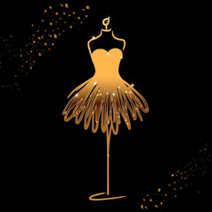 Tailor dummy fashion icon on black background. Atelier, designer, constructor, dressmaker object. Gold sparkling Couture symbol, silhouette. Vector illustration.