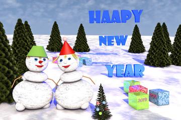 Счастливого Нового года.Иллюстрация 3д.