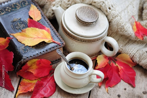 38b45e9de37 Autumn leaves, book and cup of black coffee. Background for website,  bloggers, social media. Fashion flat lay