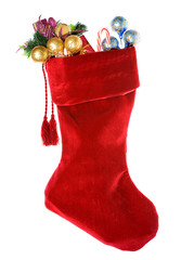 Christmas: Red Christmas Stocking with Decorations