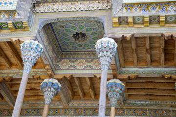 Ceiling panles at Bolo Hauz, Mosque Bukhara, Uzbekistan