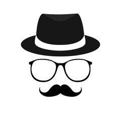 Secret agent icon in a hat and glasses. Vector cartoon illustration