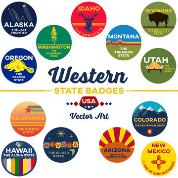 united states | western state digital badges | vector art