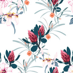 Seamless tropical flower pattern background. Tropical protea flowers, jungle leaves, on light background. Exotic print. Vintage motives.