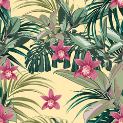 Ficus, palm leaves and pink orchid flowers seamless pattern, tropical foliage, branch, greenery. Decorative background in rustic style for wedding invite, fabric. Yellow background.
