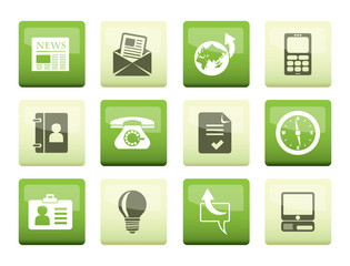 Business and office icons over green background - vector icon set