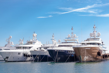 some yachts moored in the port