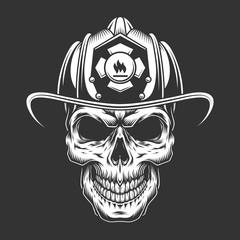 Monochrome vintage fireman skull in helmet