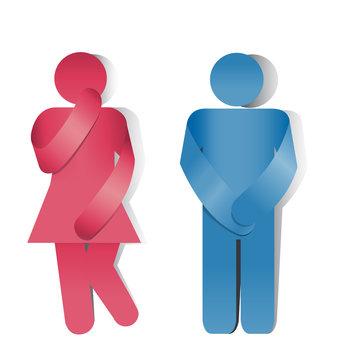 Simbolo toilette, bagno uomo e donna. Incontinenza urinaria
