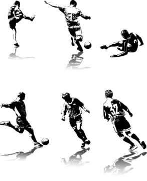 highly detailed vector illustration of soccer players