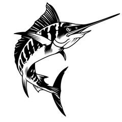 Vintage monochrome marlin fish concept